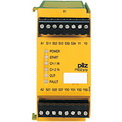 Pilz modular safety relay PNOZpower to monitor E-STOP, safety gates and light barriers. With PNOZpower you can switch currents of up to 16 A AC/DC per contact. An overall breaking capacity of 40 A is available per module. In each case, external contactors and contactor combinations are no longer required. The base unit processes the inputs; the output modules are specifically matched to the respective load. The number and capacity of the required safety contacts can be scaled, depending on the application. You can connect a maximum of five modules to the base unit. Modules are wired to the base unit via an internal bus system.