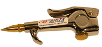 Chrome Thumb Control Air Gun, With Brass Fixed Flow Air Saver Nozzle, 1/4 in. NPTF Air Connection